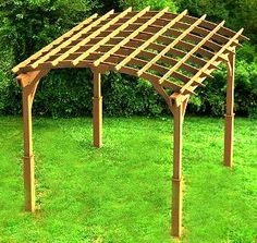 This arched roof style garden pergola measures wide x deep x tall and will add beauty and shade to any backyard, patio, or garden. The top of this pergola is designed. Diy Pergola, Garage Pergola, Steel Pergola, Pergola Garden, Pergola With Roof, Covered Pergola, Pergola Shade, Patio Roof, Pergola Ideas
