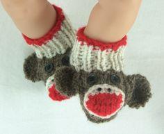 Newborn to 3 months Sock Monkey Handmade Knit Baby Booties