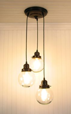 Biddeford III  Clear CHANDELIER Trio Light via Etsy