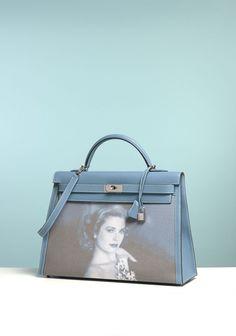 """Lot : HERMES - Exceptionnel Sac """"Kelly"""" 40 cm en veau Epsom bleu jean...   Dans la vente Hermès Vintage à Artcurial - Briest-Poulain-F.Tajan"""