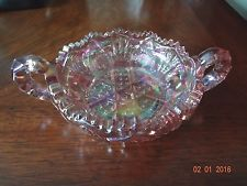 Pink Carnival Glass Nappy Dish Berry Bowl * L.E. Smith * Doubled Handled * EUC!