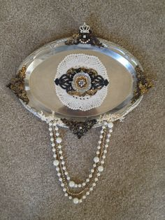 Silver Platters, Silver Trays, Beaded Christmas Ornaments, Photo Holders, Shabby Vintage, New Shop, Serving Dishes, Altered Art, Repurpose