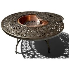 Fire Pit with Table Outdoor Backyard Deck Cast Aluminum Round Garden Furniture Fire Pit Coffee Table, Fire Pit Table, Coffee Tables, Porch Table, A Table, Dining Table, Round Dining, Patio Furniture Sets, Outdoor Furniture