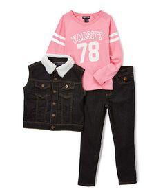 Look at this #zulilyfind! Black 'Varsity' Tee, Vest & Pants - Infant, Toddler & Girls #zulilyfinds