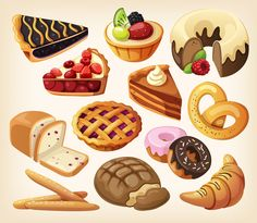 Picture of set of pies and flour products from bakery or pastry shop. Pastry And Bakery, Pastry Shop, Illustration Dessert, Vector Graphics, Vector Free, Vector Vector, Vector Design, Ice Cream Images, Delicious Desserts