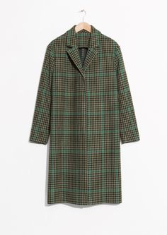 Other Stories image 1 of Wool  Mohair Blend Long Coat in Green Tweed