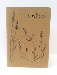 Handmade eco-friendly recycled paper notebook with lavender design. Hand sewn spine, natural colours, double coated kraft covers. By Anna's Drawing Room on Etsy