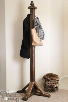 DIY coat rack, coat tree, coat stand, hat stand