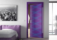Interior Design, The Exciting Innovation Also Beautiful White Wall Also Cute Door Color Design Also Decorating Interior Door Also Glass Door: The Interesting Design For The Room On The 2015 By Using The Best Of Decorative Interior Doors Idea Porte Design, Door Design, Psychedelic Decor, Purple Bedrooms, Futuristic Interior, Contemporary Doors, Cool Doors, Retro Stil, Bedroom Doors
