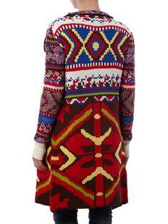 DESIGUAL Longcardigan mit Schalkragen und Ethno-Muster in Rot | FASHION ID Online Shop