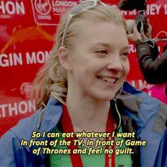 Natalie Dormer in an interview after running the London Marathon.
