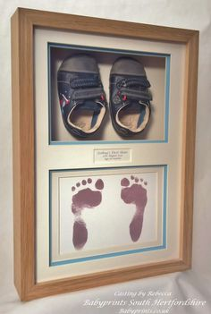 1st shoes framed with foot prints. Perfect for the nursery.  By Babyprints.co.uk