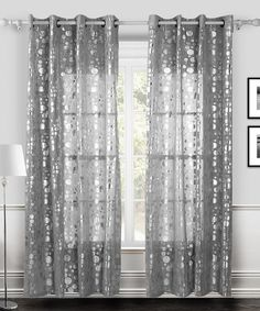 White & Silver Twinkle Curtain Panel - Set of Two by Chic Home Design