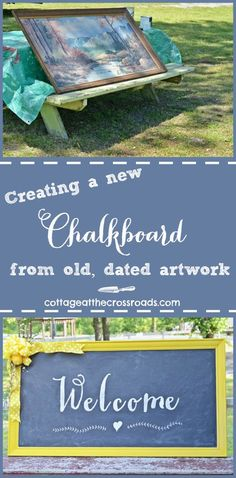 DIY Welcome Chalkboard Sign – Cottage at the Crossroads – Diy Furniture Ideas Welcome Chalkboard, Chalkboard Signs, Chalkboards, Chalkboard Ideas, Crafts To Make, Fun Crafts, Cottage Signs, Craft Projects, Craft Ideas