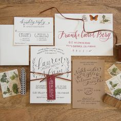 Custom hand-lettered rustic chic wedding invitation suite with a leather tie, price available upon request, Bright Room Studio