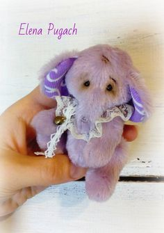 Big sale! Small teddy elephant Lavender Macaroon in shabby chic style Free shipping Teddy toy Stuffed elephant Miniature teddy Gift for her