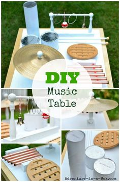 DIY Music Table from Recyclable and Household Materials: A great handmade toy for exploring music with kids! Recycling For Kids, Diy For Kids, Crafts For Kids, Toddler Crafts, Montessori, Kids Collage, Music For Toddlers, Musical Toys, Homemade Toys