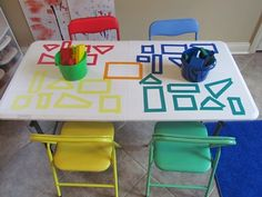 Simple way to explore shapes on a table top! { so simple and so brilliant!}