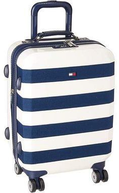Tommy Hilfiger Rugby Stripe Upright Carry On Spinner Cute Luggage, Mens Luggage, Carry On Luggage, Luggage Bags, Mens Travel Bag, Travel Bags, Travel Ideas, Tommy Hilfiger Luggage, Tommy Hilfiger Mujer
