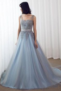 Sky Blue Formal Long Lace Appliqued Gray Tulle Prom Dresses Cheap Quinceanera Dresses This dress can be made with custom sizes and color. Cheap Quinceanera Dresses, A Line Prom Dresses, Tulle Prom Dress, Event Dresses, Cheap Prom Dresses, Party Dress, Bridesmaid Dresses, Wedding Dresses, Quinceanera Party