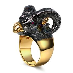Women's Cute Animal Design Rings Big Horns Goat Lamb Black Face Gold-Color Nose Synthetic Cubic Zircon Eyes Lovely Funny