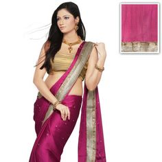Magenta Faux Satin Chiffon Saree with Blouse