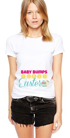 Easter Shirt - Preg Announcement - Easter Outfit - Bunny - Gender Reveal - Baby Bumps First Easter - Baby Announcement - Announcing Baby by Umbuh Funny Maternity Clothes, Funny Pregnancy Shirts, Maternity Style, Hillary Clinton Shirt, Corgi Gifts, Dog Shirt, Skinny, Trendy Baby, Workout Shirts