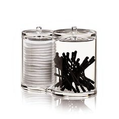 Single image of the transparent Clear Twin Organizer made of acrylic by Nomess. The storage boxes serve as cotton pad dispensers.