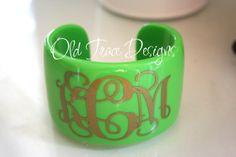 Acrylic Cuff Bracelet Monogram Personalized Spring by OldTrace, $18.00