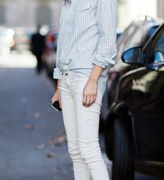 White jeans + striped polo/top + half tucked in/style