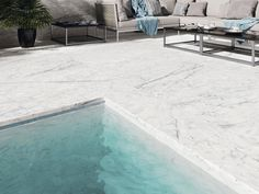 A 600x600 or 1200x600 External Rectified White Marble Look Glazed Porcelain Tile