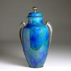 Art Deco Vase and Cover Designed for Sèvres France, c. 1920s - Glazed ceramic, metal - Printed maker's mark to underside  - H:  13 3/4 in. (35 cm)