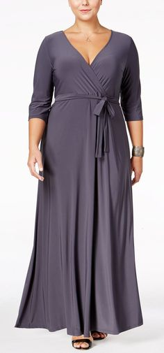 Love Squared Plus Size Faux-Wrap Maxi Dress - Blue Plus Size Maxi Dresses, Plus Size Outfits, Maxi Wrap Dress, Bodycon Dress, Dresser, Ladies Dress Design, Occasion Dresses, Plus Size Women, Plus Size Fashion