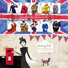 For the 'Great British Fashion' stamp issue on May Bletchley Park Post Office has taken a theme. The first day cover that will carry the new stamps British Style, British Fashion, Cool Mailboxes, Bletchley Park, Mail Art Envelopes, Rene Gruau, Old Letters, Postage Stamp Art, Going Postal