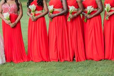 Munaluchi Bride Magazine- Bridesmaids in Red Dresses- Real Weddings