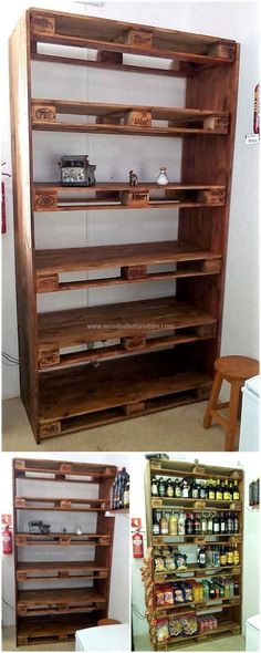 Over this image, we have a splendid plan of recycled pallet shelf idea for your home. This pallet project appears stunning to locate in any area of your home to meet different needs with it, like the placement of some decorating items, kitchen products as Wood Pallet Recycling, Recycled Pallets, Wooden Pallets, Pallet Wood, Wood Pallet Crafts, Woodworking Inspiration, Deco Originale, Pallet Shelves, Pallet Cabinet