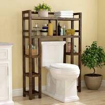 Latitude Run® Jordane 34'' W x 38.5'' H x 7'' D Over-The-Toilet Storage & Reviews | Wayfair Bathroom Wood Shelves, Toilet Shelves, Bathroom Cabinets, Bathroom Furniture, Over Toilet Storage, Glass Shelves, Rustic Furniture, Over The Toilet Ladder, Clever Bathroom Storage