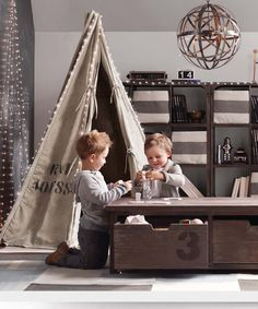 kid room decor, playroom decor Upcycled Play Tents - The Recycled Canvas Play Tent is an Eco-Friendly Way to Have Fun (GALLERY) Room Ideias, Modern Playroom, Playroom Ideas, Gray Playroom, Playroom Table, Kid Playroom, Playroom Storage, Playroom Decor, Restoration Hardware Baby