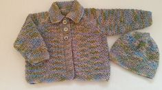 Hand Knit Baby Girl Cardigan and Hat in Shades of Heather by LittleknitsDesigns on Etsy