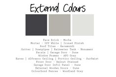We have our external colours picked out. The other bricks i liked were a. House Exterior Color Schemes, Exterior Paint Colors For House, Exterior Colors, Roof Colors, Colours, Rendered Houses, External Wooden Doors, Roof Tiles, Colour Schemes