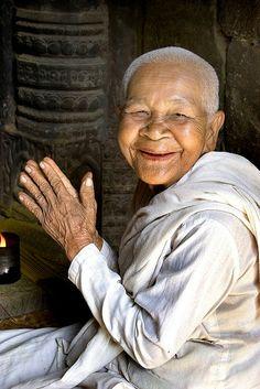 """cambodian nun at bayon"" | rob kroenert"