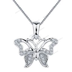 "14K Gold Plated Butterfly Pendant Fashion Women's Jewelry 18"" Chain Free Pouch #giftjewelry22 #ButterflyPendant"