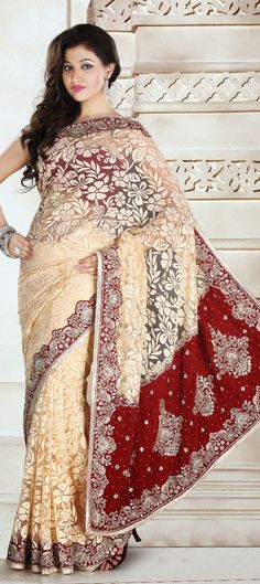 122858: Red and Maroon, White and Off White color family Saree with matching unstitched blouse.