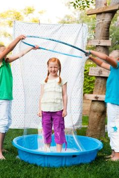 GIANT BUBBLES! Kids love this! Find a   recipe for bubble sauce to fill the pool at an affordable price! We rigged a   plastic pipe frame with string and just one person could pull it up. Did it for   a fund raiser event once.