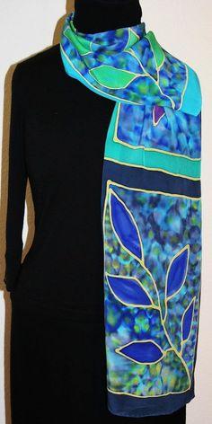 Silk Scarf Hand Painted Green Blue Purple Handmade silk