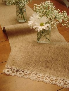Rustic table runner. Burlap and lace