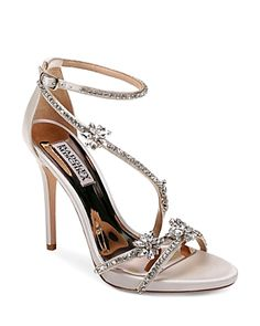 BADGLEY MISCHKA WOMEN'S HODGE EMBELLISHED SATIN STRAPPY HIGH HEEL SANDALS. #badgleymischka #shoes #