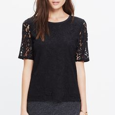 NWOT! Madewell Lace Refined Tee Never worn! No clue were I put the tags.  A sophisticated lace take on a pared-down T-shirt shape. The peek-a-boo back is just the right amount of pretty.   •True to size. •Cotton. •Dry clean. •Import. Madewell Tops Tees - Short Sleeve