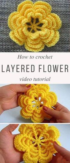 Yellow Layered Flower Crochet Pattern Tutorial