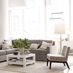 Family room decor (West Elm Henry Sectional sofa) love coffee table and couch Sofa Living, New Living Room, Home And Living, Living Room Decor, Living Spaces, Living Area, Style At Home, Family Room Decorating, Decorating Ideas